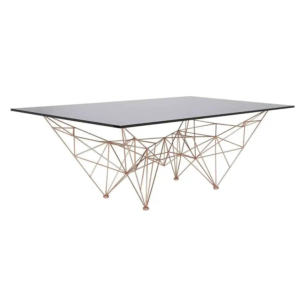 table basse design en cuivre et verre fume de tom dixon