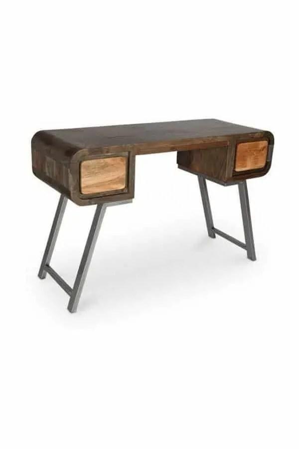 bureau style industriel jason en bois recycle