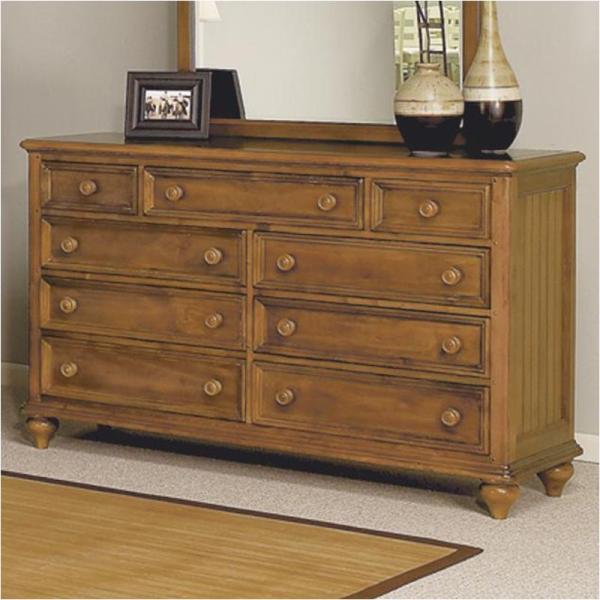 1656-60 Flexsteel Wynwood Furniture Drawer Dresser- Honey Pine