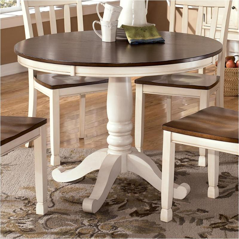 white round kitchen table trolley d583 15t ashley furniture dining room whitesburg brown cottage dinette