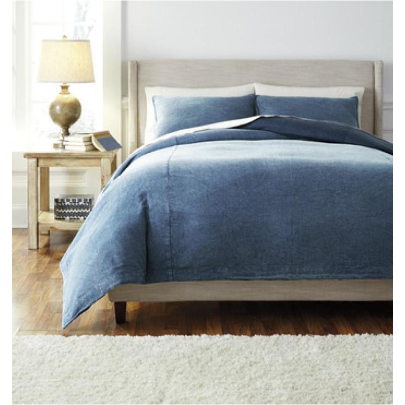 Q478003k Ashley Furniture Solid Denim King Duvet Cover Set