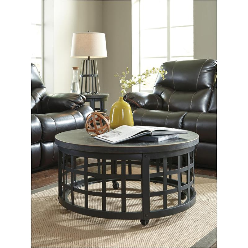 T7468 Ashley Furniture Marimon  Black Round Cocktail Table