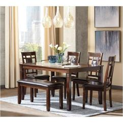 Dining Table Set 6 Chairs Mustard Yellow Swivel Chair D384 325 Ashley Furniture Bennox Cn Room