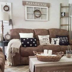 Living Room Design Ideas With Brown Leather Sofa Inspiration Rooms 27 Rustic Farmhouse Decor For Your Home Homelovr Couch
