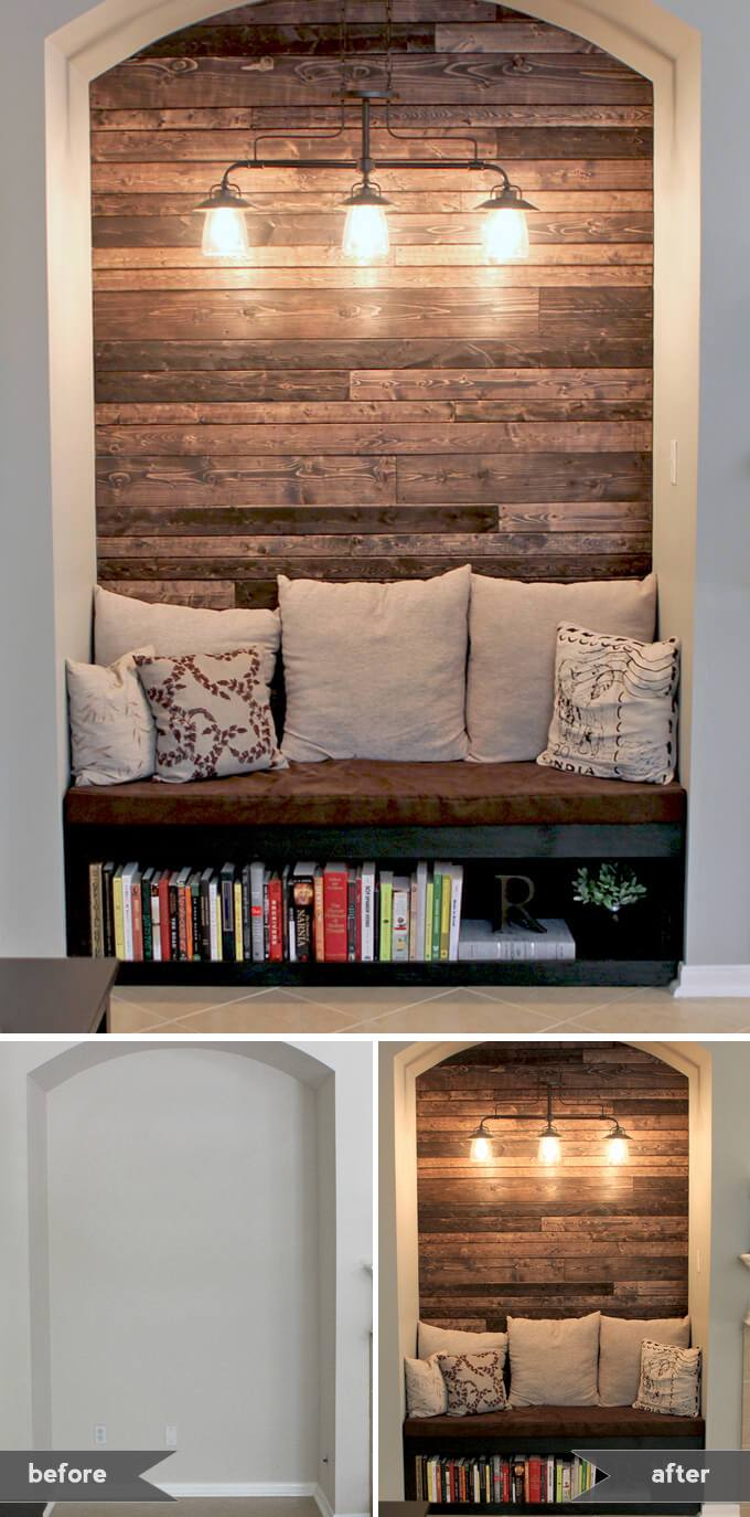 wood wall living room tiles ideas 15 beautiful accent to upgrade your space homelovr reading nook with plank