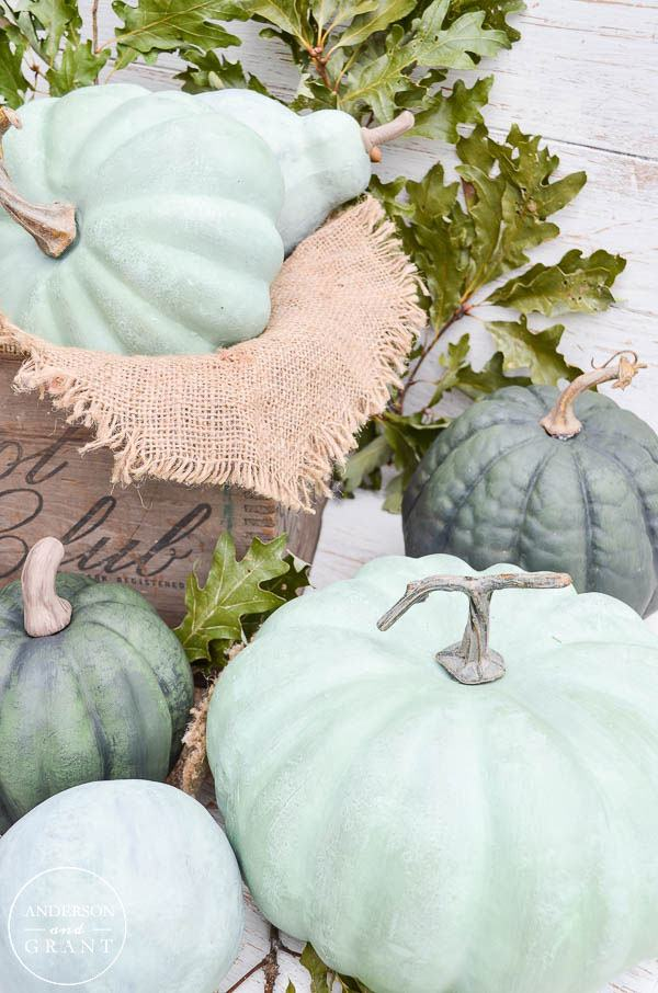 Dry Brushed Chalk Painted Pumpkins