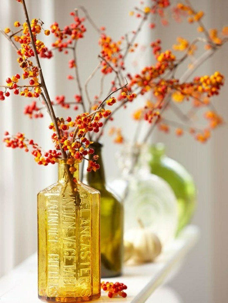 Fall Decoration with Orange Berry Branches