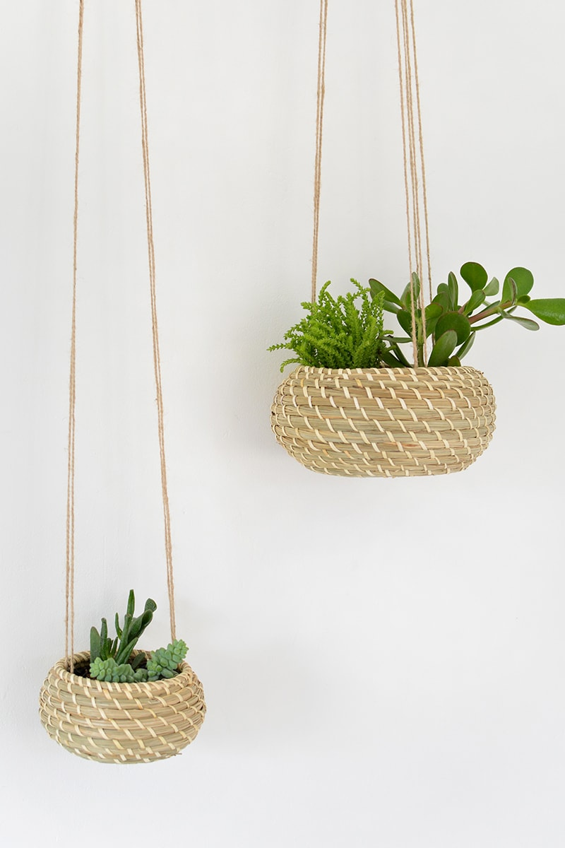 DIY Seagrass Hanging Planters