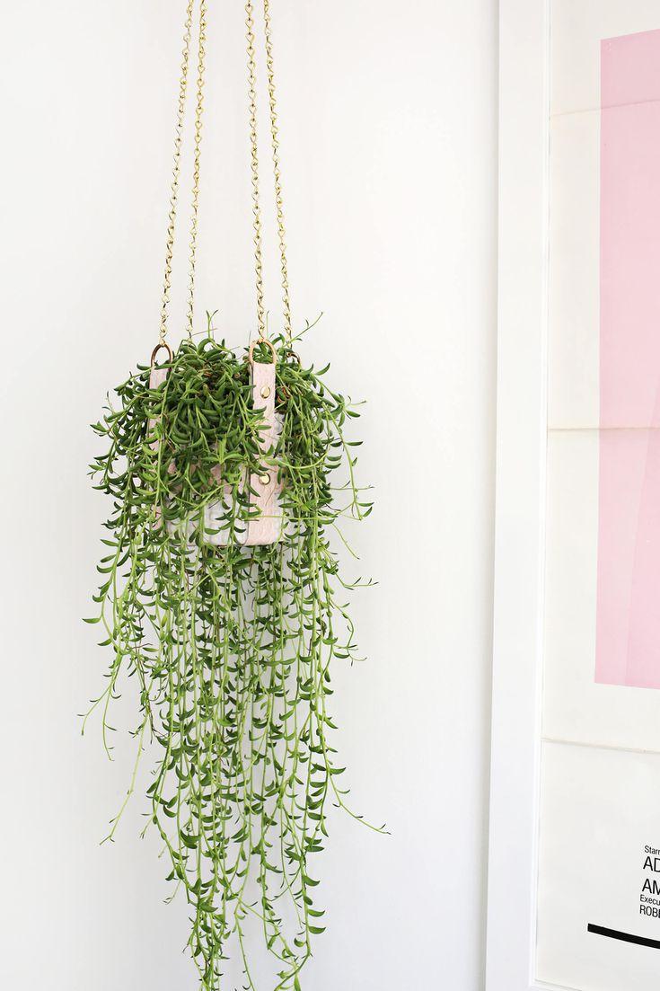 Hanging Leather Strap Planter DIY