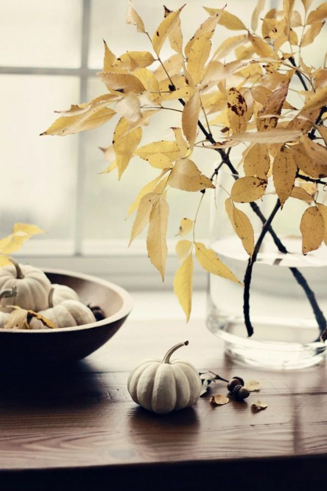 Simple Fall Decor with White Pumpkins and Leaves