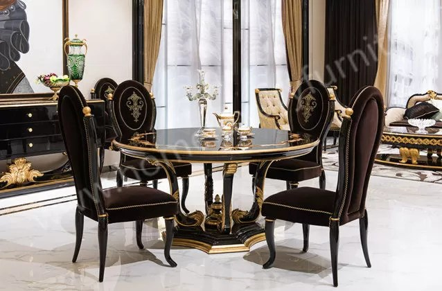 Giltwood Round Dining table antique 4 dining chairs black