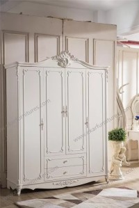 Neoclassical Bedroom Furniture Wooden Clothes Cabinet D-9002