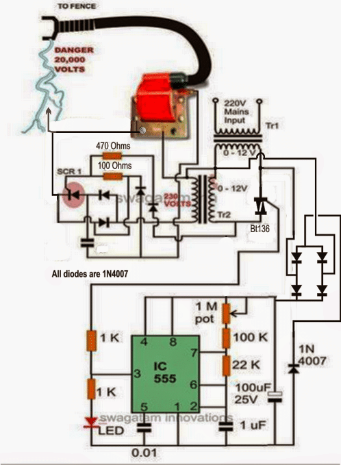Step Up Transformer Wiring Diagrams A Homemade Fence Charger Energizer Circuit Homemade