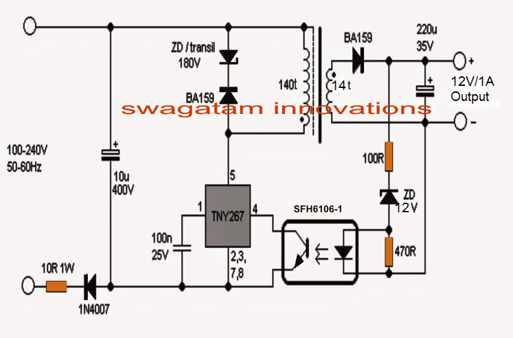 Simple 12V, 1 Amp SMPS with PCB and Transformer Winding