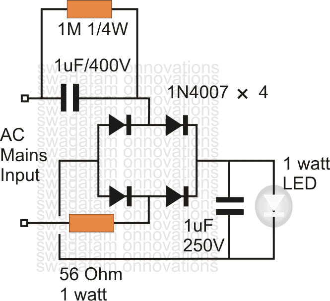 led circuit diagram for ac to 220v
