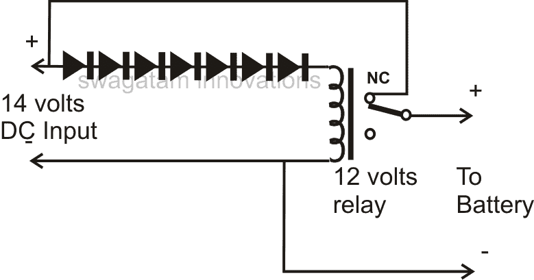 Battery Cut Off Charger Circuit Using a Single Relay