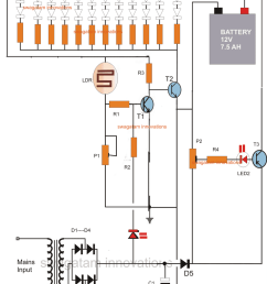 solar led emergency light circuit diagram led emergency light circuit with battery over charge protection [ 1287 x 1599 Pixel ]