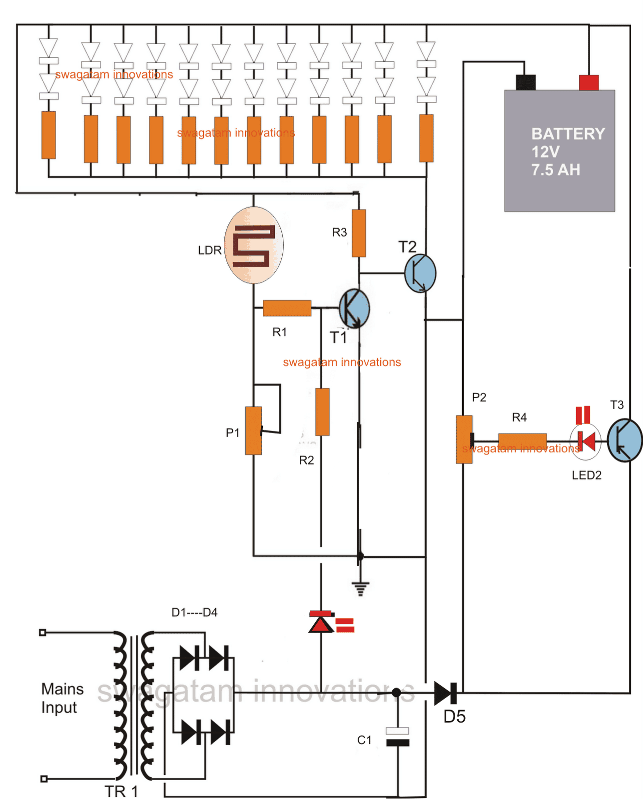 hight resolution of solar led emergency light circuit diagram led emergency light circuit with battery over charge protection