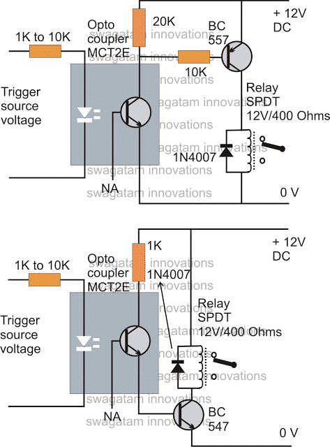 battery isolator wiring diagram weg capacitor how to drive a relay through an opto-coupler | homemade circuit projects