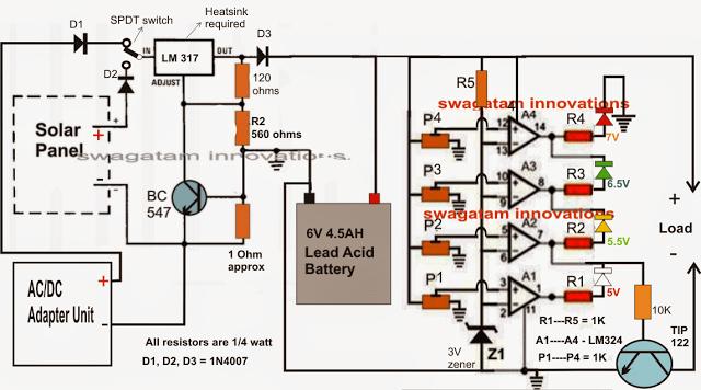 Wiring Diagram For Rv Inverter 6v Solar Battery Charger Circuit