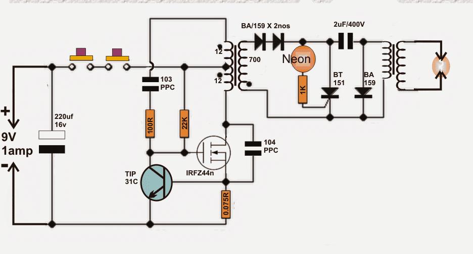 DIY Taser Gun Circuit