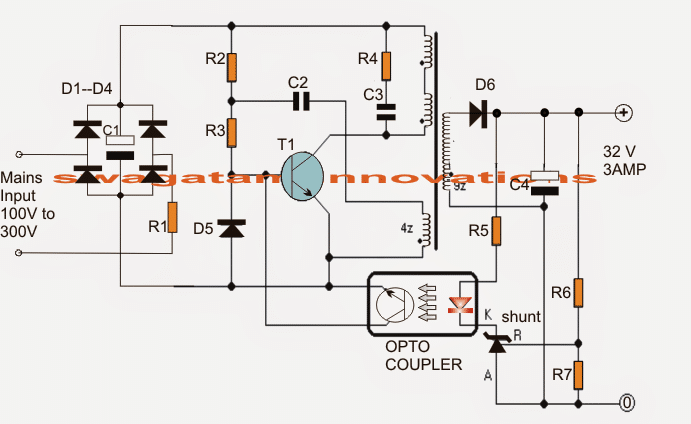 atx smps circuit diagram