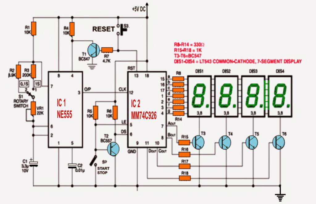 Ammeter Gauge Wiring Diagram Ic 555 Based Simple Digital Stopwatch Circuit Homemade