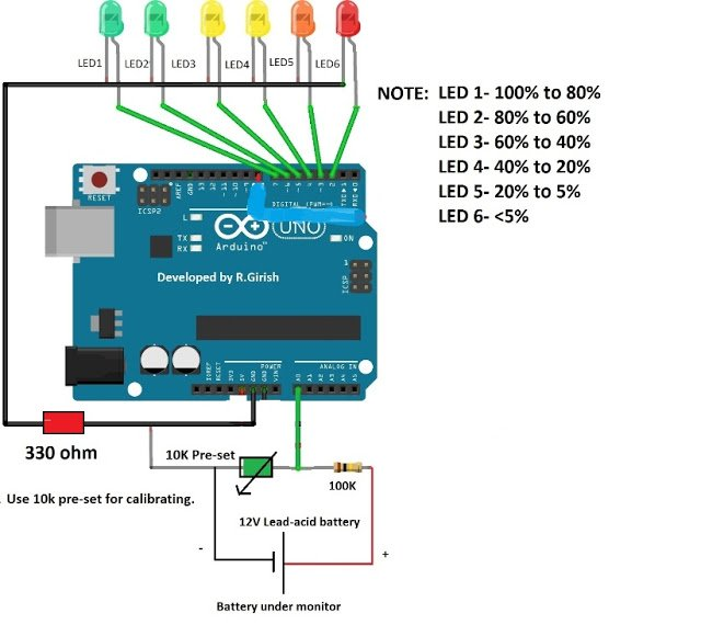 10000 Inverter Wiring Diagram Battery Level Indicator Circuit Using Arduino