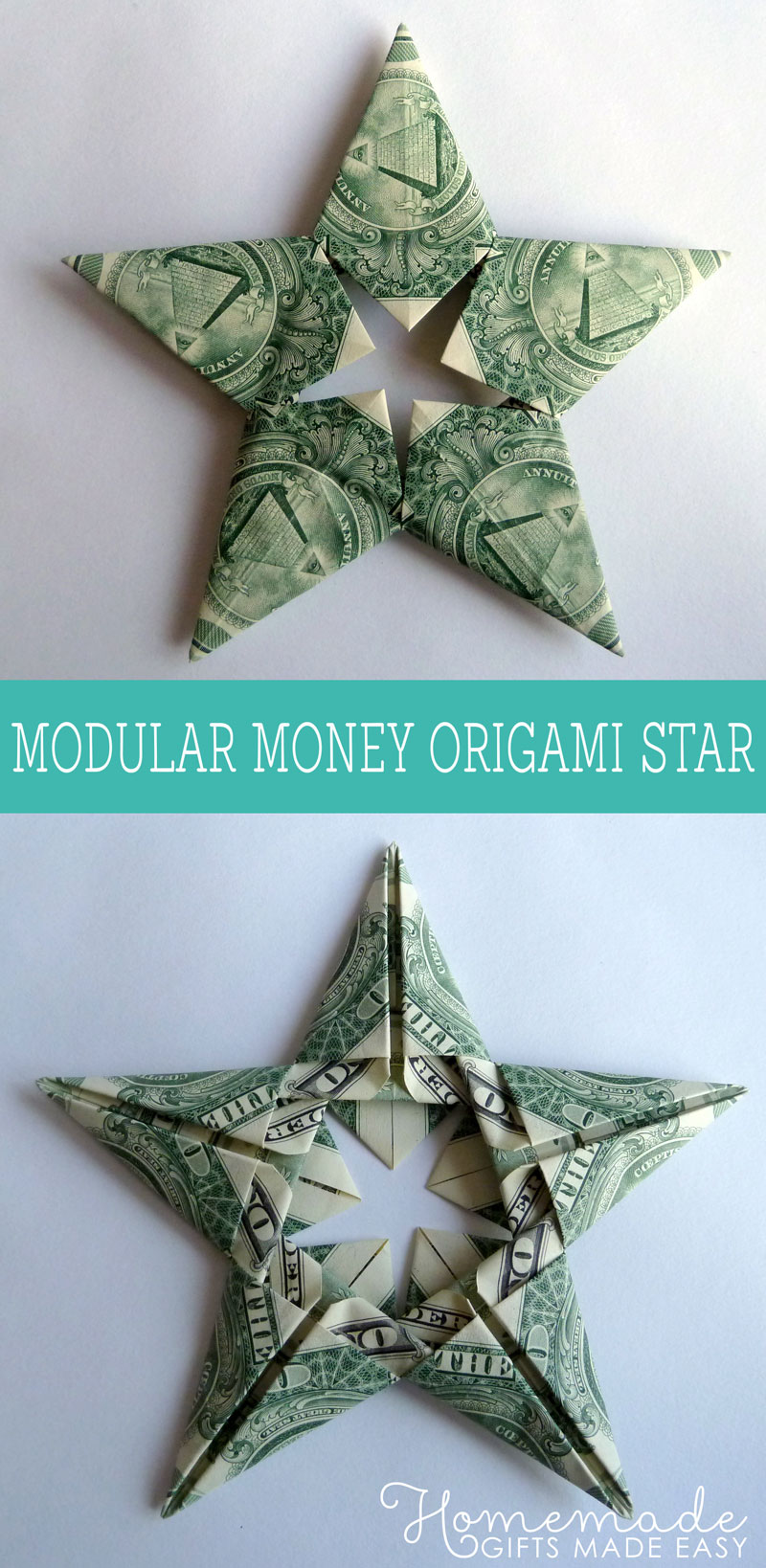 Modular Money Origami Star From 5 Bills How To Fold Step