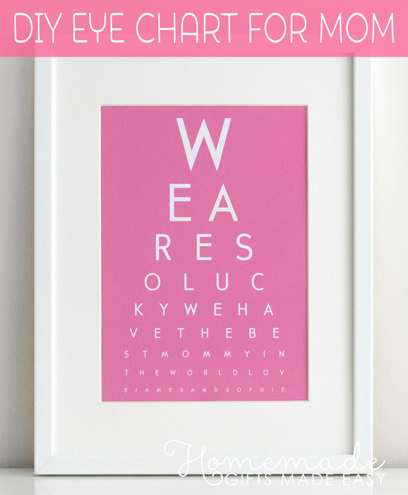 DIY Eye Chart - Personalized Mothers Day Gift