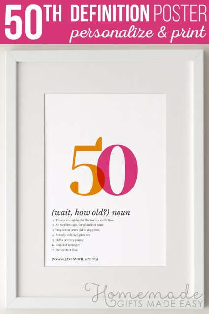 Create a unique 50th birthday poster gift