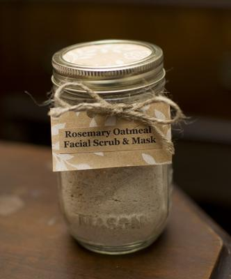 Rosemary Oatmeal Facial Scrub & Mask In A Mason Jar