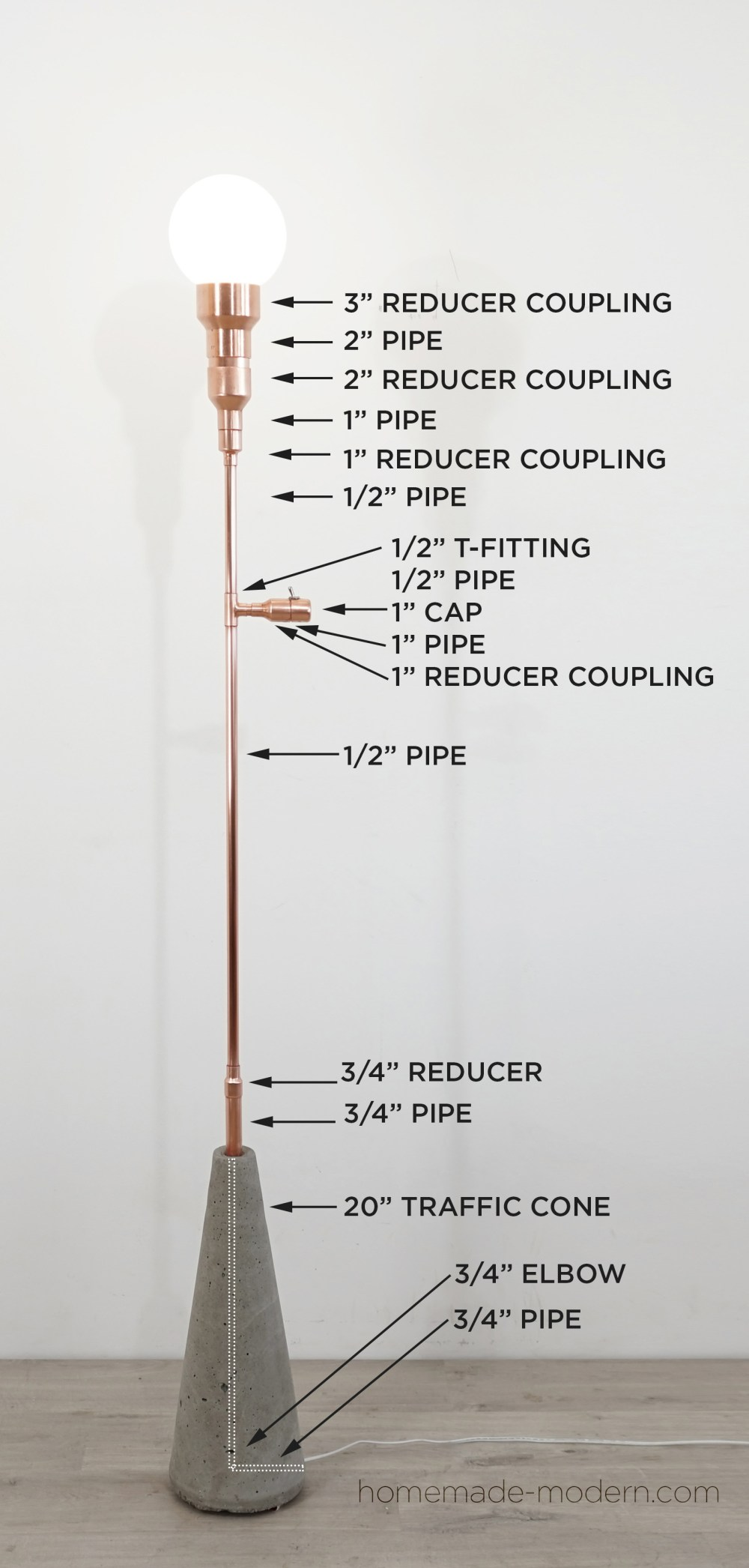 medium resolution of this diy copper lamp was made out of copper pipes from home depot for more
