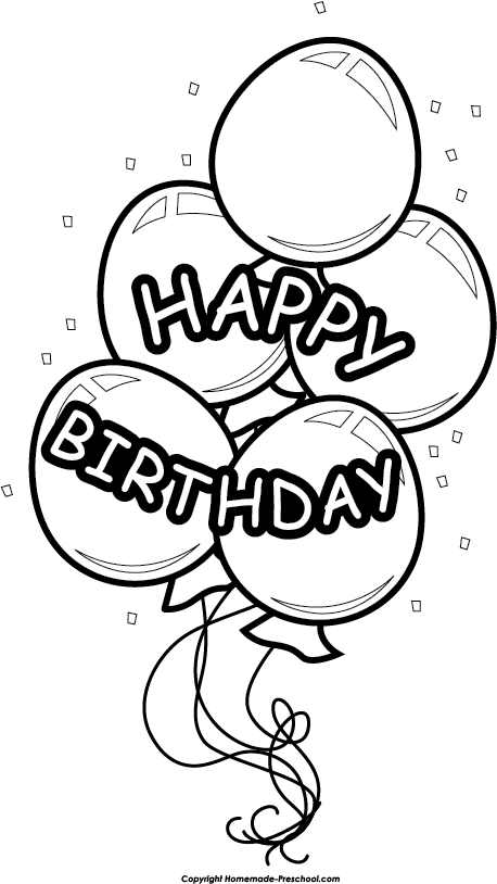 20 Happy Birthday Balloons Clip Art Black And White Ideas And Designs