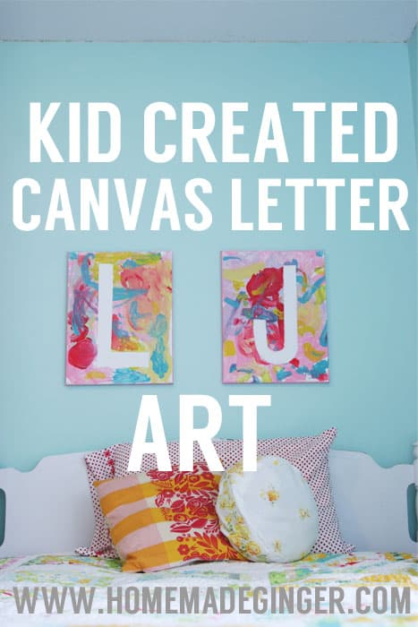 This diy canvas art for kids project is easy to make and looks so cute hanging in a kids room. This is such an easy art project for kids!