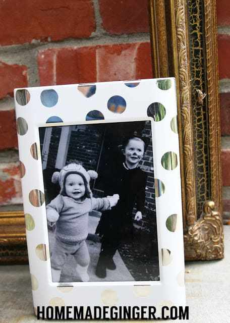 modern silver and white polka dot picture frame diy