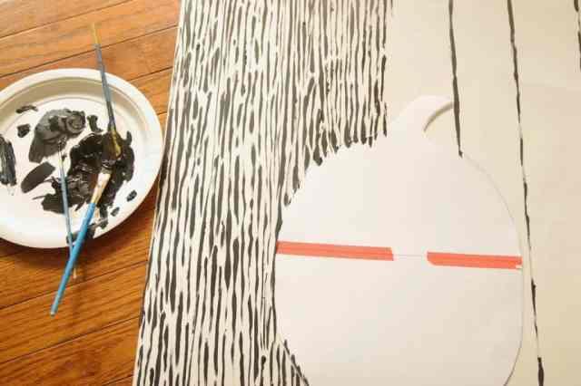 black and white pumpkin painting progress