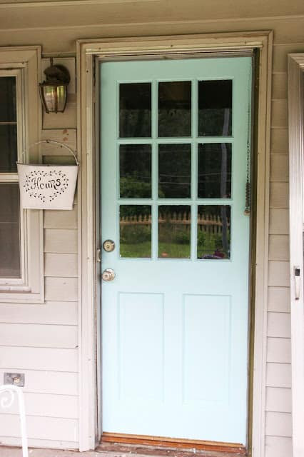 Aqua blue patio door
