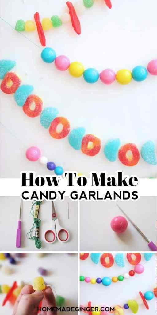How to make a candy garland? First, poke holes in your candy with an embroidery needle. Then, string embroidery thread through the candy. When you have a long enough garland, hang it and enjoy!