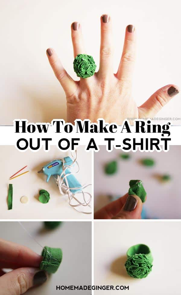 How to make a DIY t-shirt flower ring? All you need is an old t-shirt, a hot glue gun and felt. Cut your shirt into small circles and fold. Glue the folded circles onto a piece of felt. Keep adding circles until it creates a flower. Attach the flower to a ring made out of a shirt hem. Trim the flower and you will have a ring.