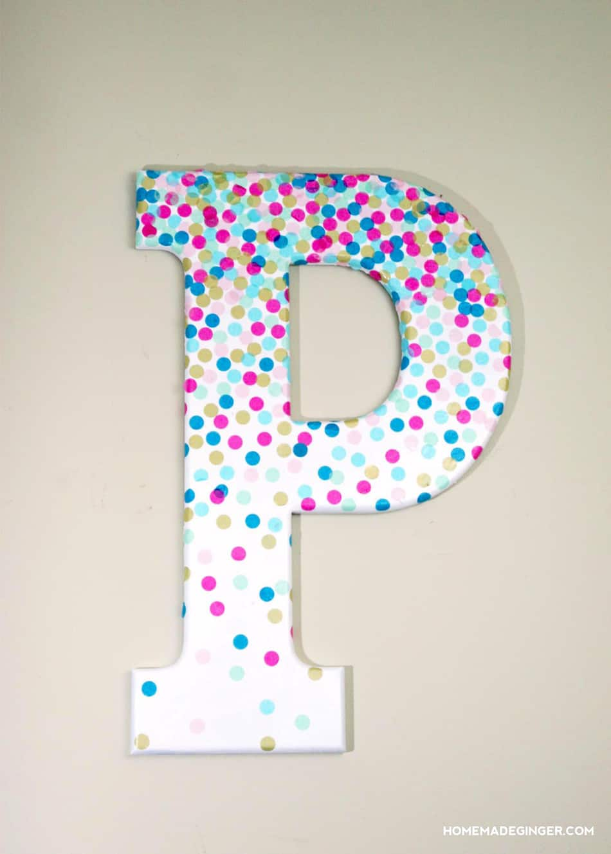 DIY Wall Art: Confetti Letter