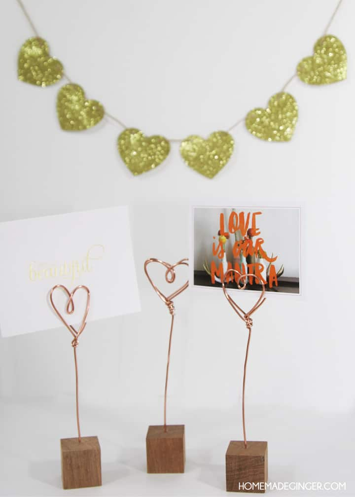 For an easy Valentine's day craft that can be used all year long, make some copper wire photo holders!