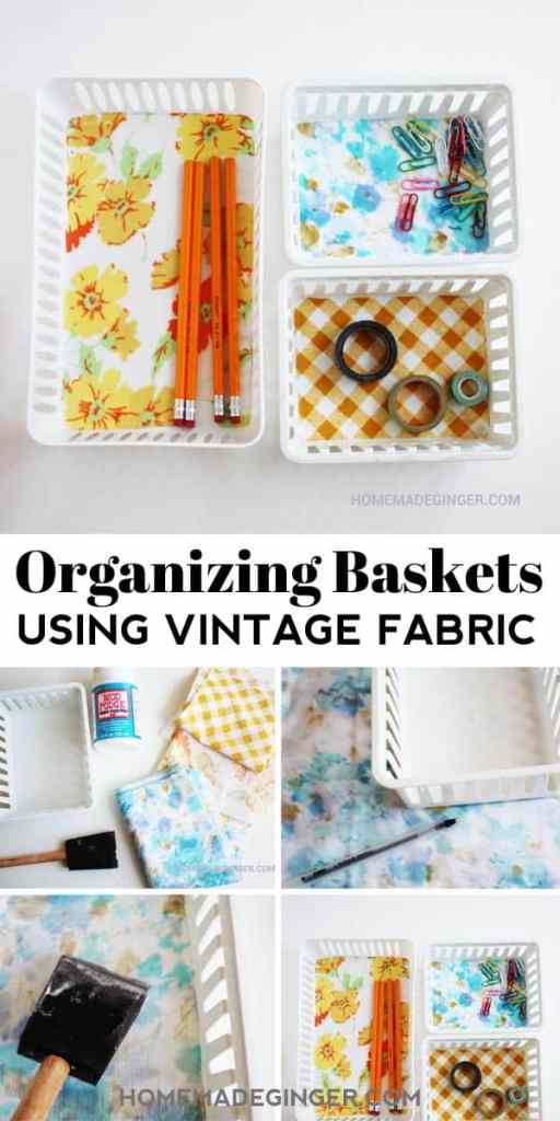 This is such a cheap and fast way to make organizing more beautiful! Grab some fabric and cover plastic baskets from the Dollar Tree!
