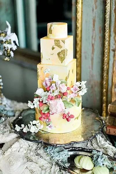 Gold Leaf Wedding Cakes Home Made Interest