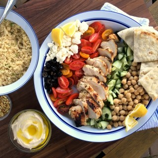 Greek Style Grilled Chicken and CousCous Salad Deconstructed