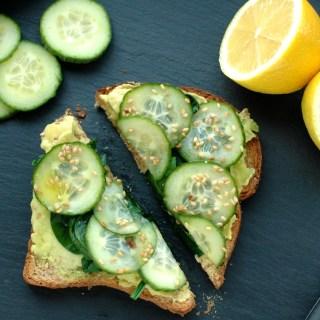 Easy Avocado Toast Recipe: Avocado, Cucumber & Toasted Sesame Seeds