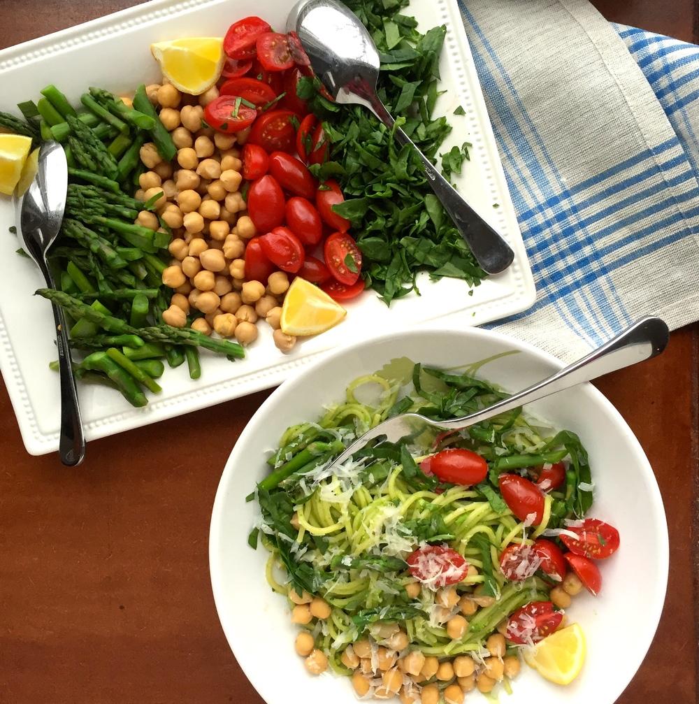 Dinner in Pieces: Asparagus Pesto Pasta & Veggies