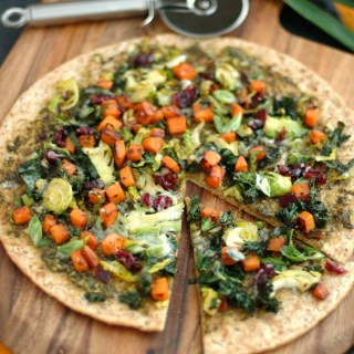 Kale, Brussels Sprout & Sweet Potato Pizza on Angelic Bakehouse Sprouted Flatzza