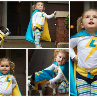 Lighting Lilly and Zappin' Zoey: DIY Super Hero Kid's Halloween Costume and Dog Costume