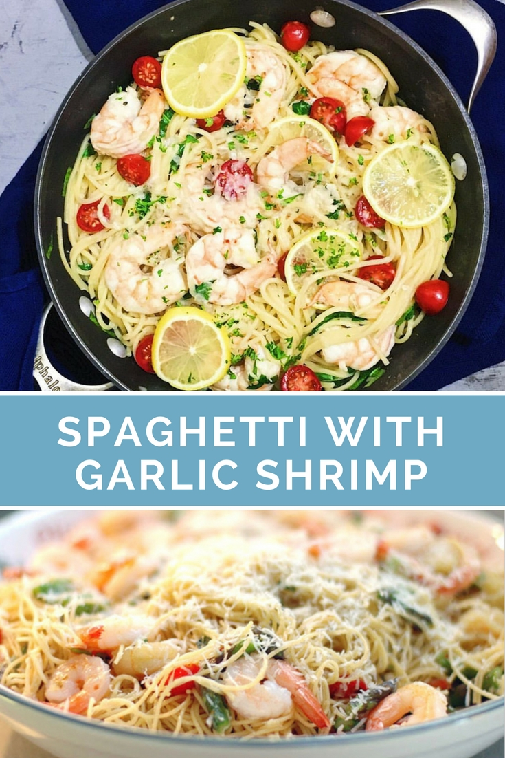 Spaghetti with Garlic Shrimp, Tomatoes, Spinach and Lemon Zest